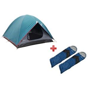 Barraca Nautika Cherokee GT 2/3 Pessoas + 2 Sacos de Dormir Viper Preto e Azul