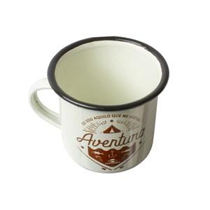 Caneca De Alumínio Esmaltada Branco - Guepardo