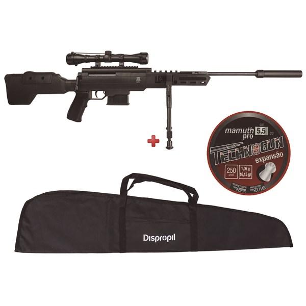 Carabina de Pressão Black Ops Sniper 5.5mm + Capa 120 New + Chumbo Technogun Mamuth 5.5mm