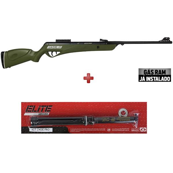 Carabina de Pressão CBC Jade PRO Oxidada Verde 5.5mm + Kit Pistão Mola Gás Ram Elite AirGuns 60kg