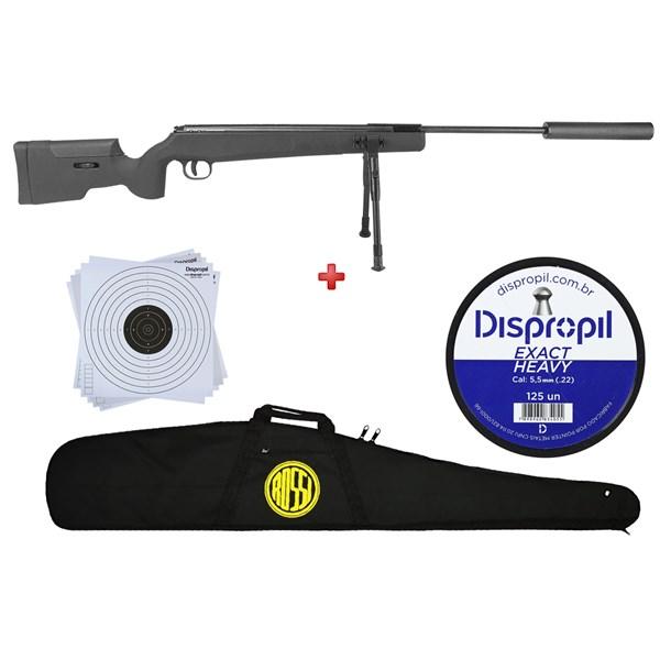 Carabina de Pressão Fixxar GP Sniper 1250 5.5mm + Capa Rossi + Chumbo Dispropil 5.5mm + Alvo 17x17