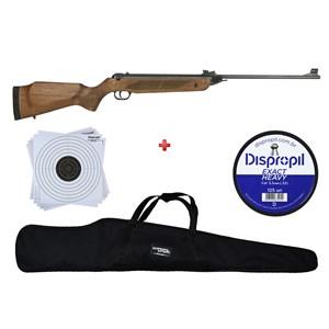 Carabina de Pressão Rossi Dione Madeira Rec 5.5mm + Capa 120 + Chumbo Dispropil 5.5mm + Alvo 17x17