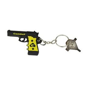 Chaveiro De Borracha Pistola Preta e Amarela