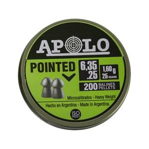 Chumbinho Pointed 6.35mm 1.60g 25 Grains 200un. - Apolo