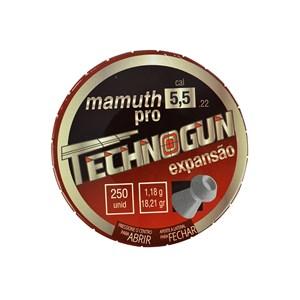 Kit 10 Chumbinho Technogun Mamuth Pro Expansão 5.5mm 250un.