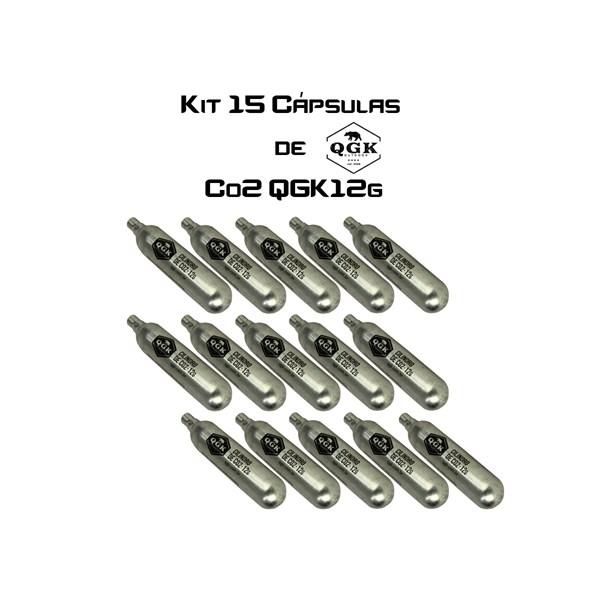Kit Combo 15 Cápsulas de CO2 QGK Descartável Unitário 12g
