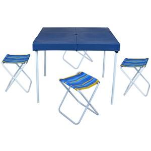 Mesa Para Camping Com Banqueta Azul - Mor