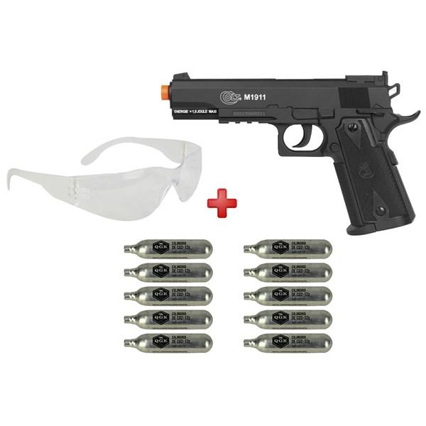 Pistola Airsoft CO2 Colt 1911 Black + 10 Cápsulas de CO2 + Óculos de Proteção