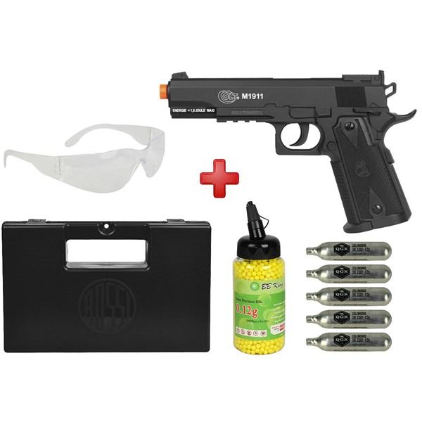 Pistola Airsoft CO2 Colt 1911 Black + Óculos + Kit Munição + Maleta