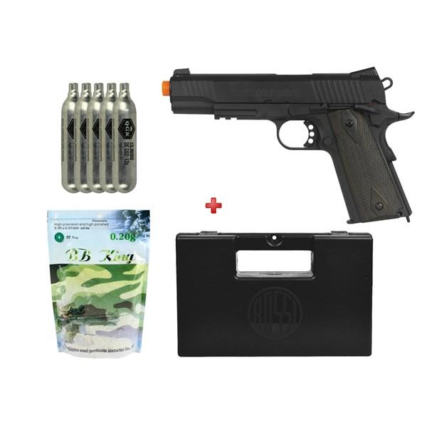 Pistola Airsoft CO2 Colt 1911 Rail Black + 5 CO2 + Case Rossi + BBs BB King 0.20g