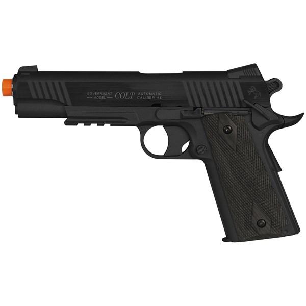 Pistola Airsoft CO2 Colt 1911 Rail Gun Black Full Metal