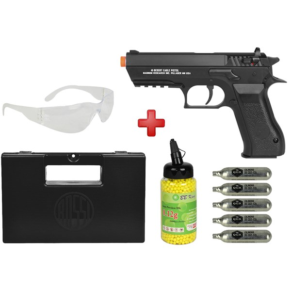 Pistola Airsoft CO2 Magnum Research Desert Eagle Baby + Óculos + Kit Munição + Maleta