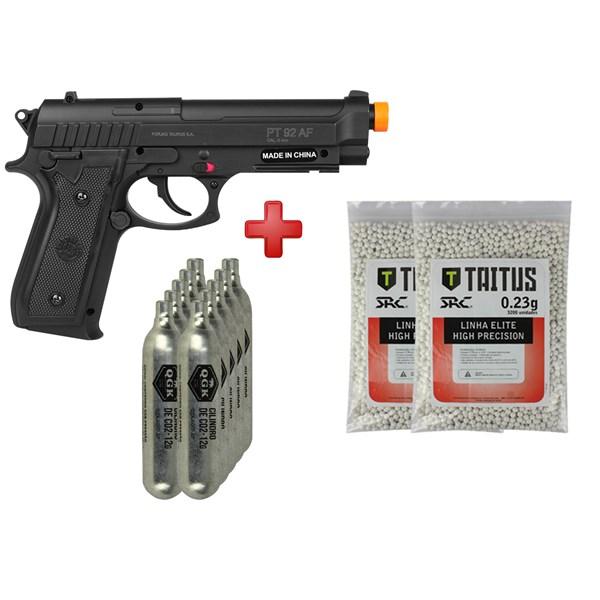 Pistola Airsoft CO2 Taurus PT92 Black + 10 CO2 + 2 BBs Taitus 0.23g