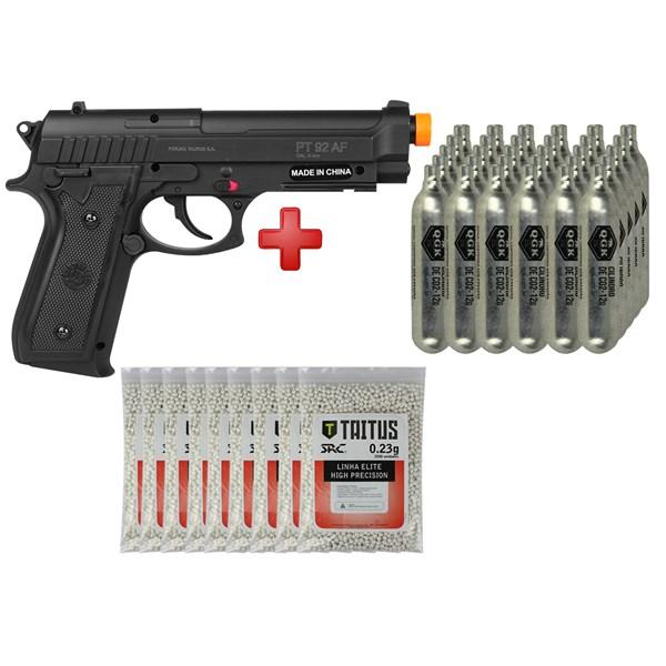 Pistola Airsoft CO2 Taurus PT92 Black + 30 CO2 + 9 BBs Taitus 0.23g