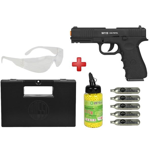 Pistola Airsoft CO2 Win Gun W119 Semi-metal + Óculos + Kit Munição + Maleta