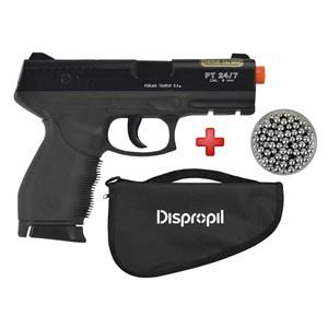 Pistola Airsoft Cybergun Taurus Black 24/7 + Capa Simples + Esferas Alumínio 6mm 200un