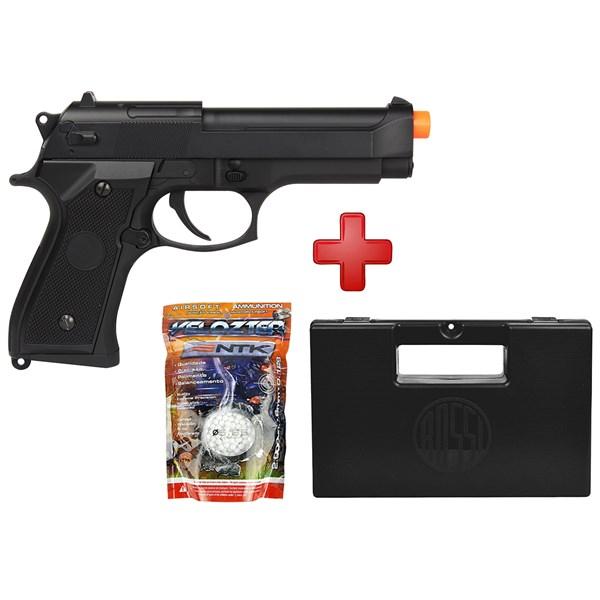 Pistola Airsoft Elétrica Cyma Beretta CM.126 Full Metal Bivolt + Maleta + BBs Nautika