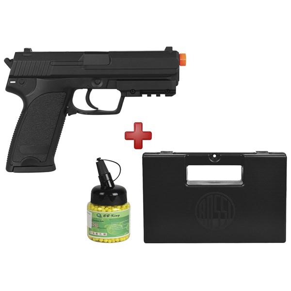 Pistola Airsoft Elétrica Cyma USP CM.125 Full Metal Bivolt + Maleta + BB King 0.12g