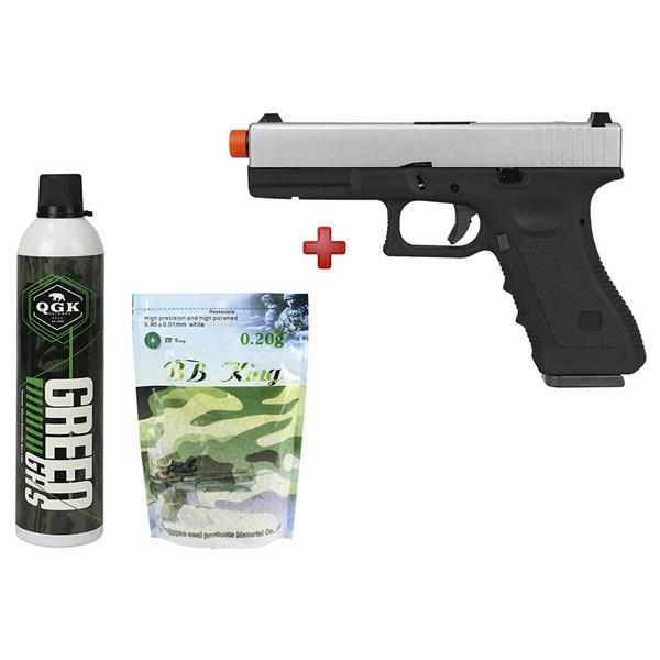 Pistola Airsoft GBB Army Armament Glock R17 Silver Semi-metal + Kit Munição