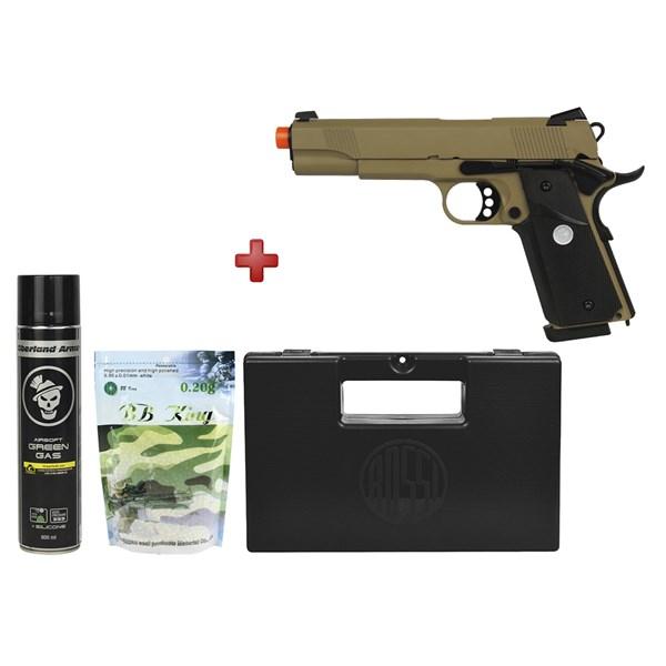 Pistola Airsoft GBB Army Armament M1911 Tan Full Metal + Kit Munição + Maleta