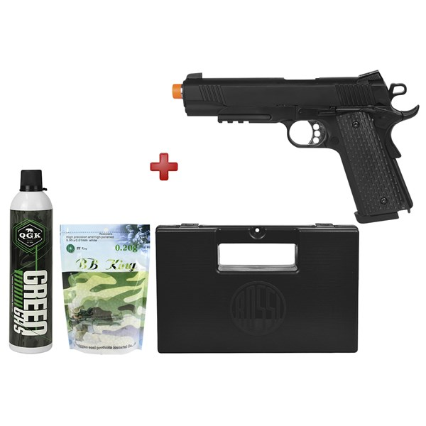 Pistola Airsoft GBB Army Armament M1911 Warrior Black Full Metal + Kit Munição