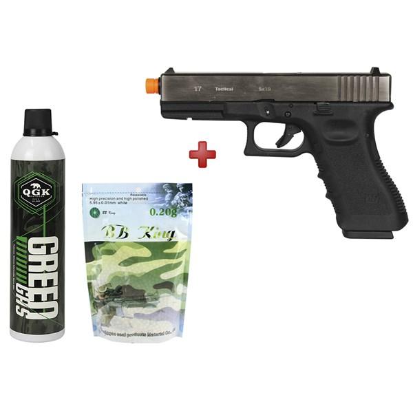 Pistola Airsoft GBB WE Glock G17A Gen3 Silver Semi-metal + Kit Recarga QGK