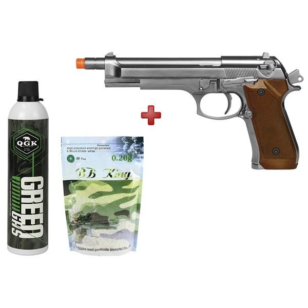 Pistola Airsoft GBB WE M92 Cromada Full Metal + Green Gás QGK + BBs BB King