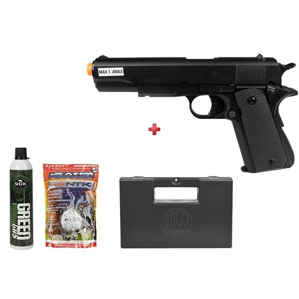 Pistola Airsoft Green Gás Saigo 1911 + Green Gás QGK + BBs Velozter 0.20g + Case Maleta Rossi