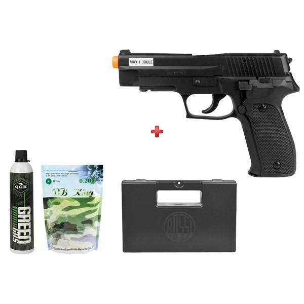 Pistola Airsoft Green Gás Saigo 226 + Green Gás QGK + BBs BB King 0.20g + Case Maleta Rossi