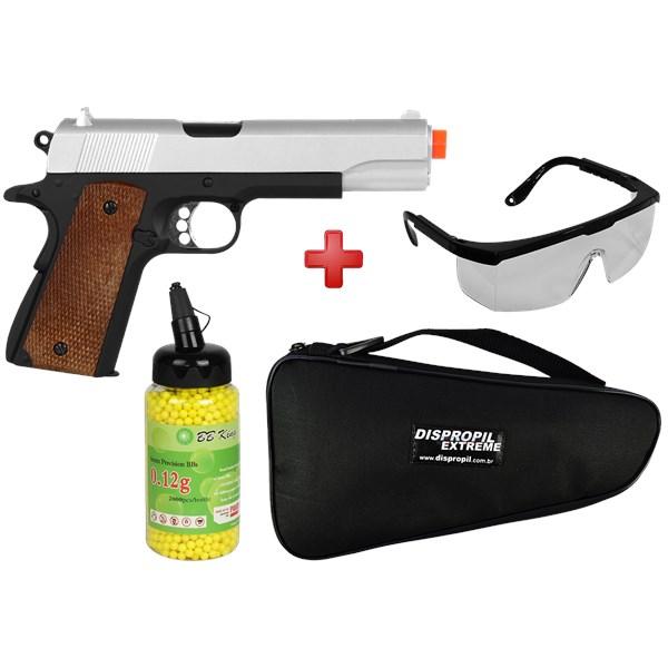 Pistola Airsoft Spring 1911-A2 Full Metal + BBs BB King + Capa + Óculos de proteção
