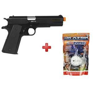 Pistola Airsoft Spring Colt 1911 A1 Slide Metal + BBs Nautika 0.12g
