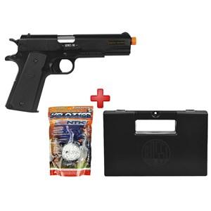 Pistola Airsoft Spring Colt 1911 A1 Slide Metal + BBs Nautika 0.12g + Case Maleta