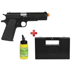 Pistola Airsoft Spring Colt 1911 A1 Slide Metal + Case Maleta + BBs BB King 0.12g