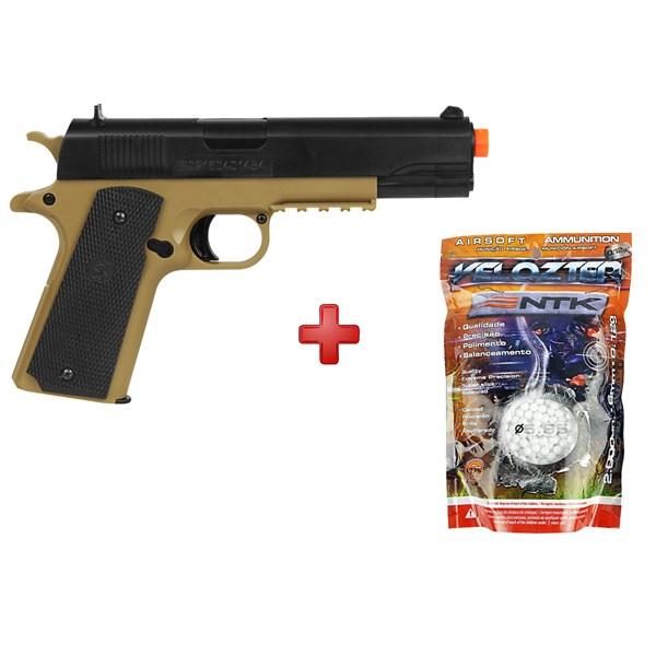 Pistola Airsoft Spring Cybergun Colt 1911 Tan + BBs Nautika 0.12g