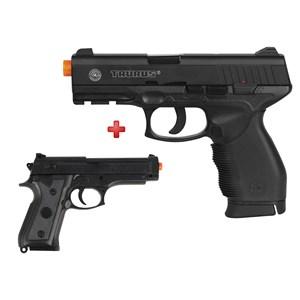 Pistola Airsoft Spring Cybergun Taurus Black 24/7 + Pistola Airsoft Spring Vigor P92