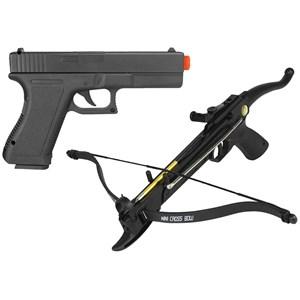 Pistola Airsoft Spring Cyma P.698 + Balestra Recurva Mankung 80A4PL 80 Libras