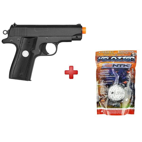 Pistola Airsoft Spring G.2 Compact Full Metal + BBs Nautika 0.12g