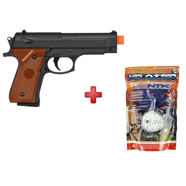Pistola Airsoft Spring G.22 Compact Full Metal + BBs Nautika 0.12g