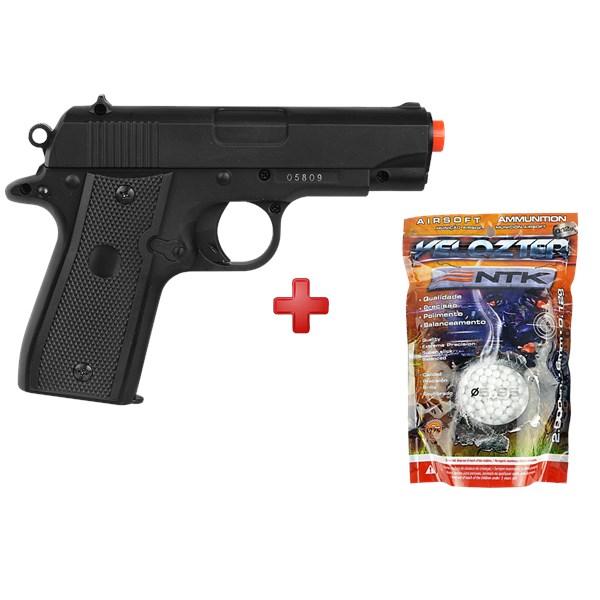 Pistola Airsoft Spring Mini P88 Full Metal + BBs Nautika 0.12g