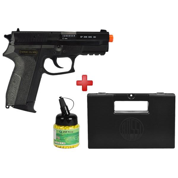 Pistola Airsoft Spring Sig Sauer SP2022 + Case Maleta + BBs BB King 0.12g