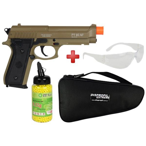 Pistola Airsoft Spring Taurus PT92 Marrom + BBs BB King + Capa + Óculos de Proteção