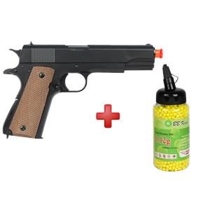 Pistola Airsoft Spring UHC Colt 1911 Military + BBs BB King 0.12g