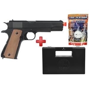 Pistola Airsoft Spring UHC Colt 1911 Military + Case Maleta + BBs Nautika