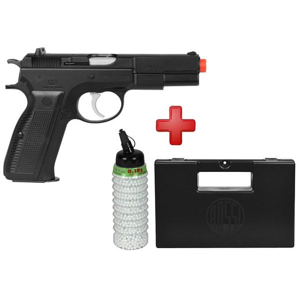 Pistola Airsoft Spring UHC CZ75 + Case Maleta + BBs BB King