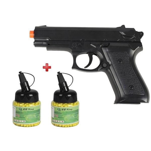 Pistola Airsoft Spring Vigor P99 + 2 BBs Airsoft BB King 0.12g 1000un
