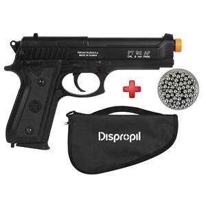 Pistola Airsoft Taurus PT92 Slide Metal + Capa Simples + Esferas Alumínio 6mm 200un