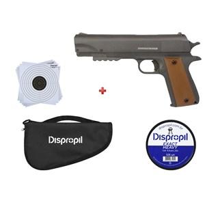 Pistola de Pressão APC QGK Fox 5.5mm + Capa Simples + Chumbo Dispropil 5.5mm + Alvo Papel 17x17