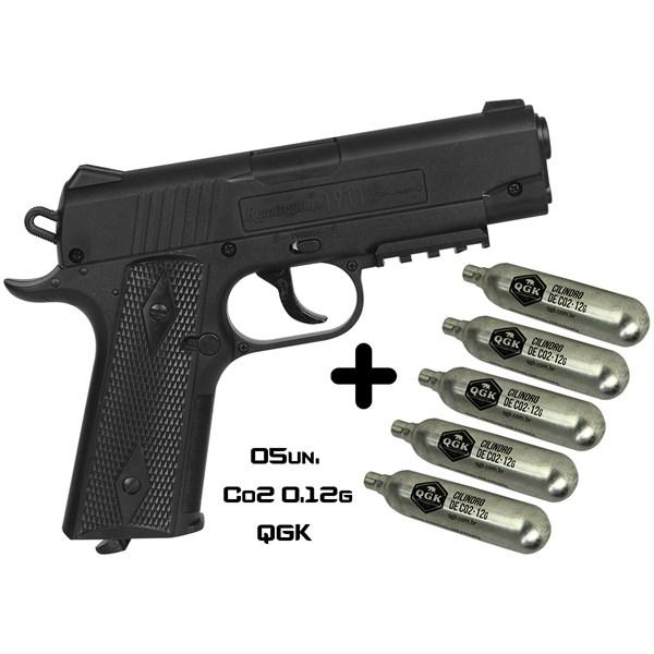 Pistola de Pressão CO2 Crosman Remington 1911 4.5mm + 05 CO2 Dispropil