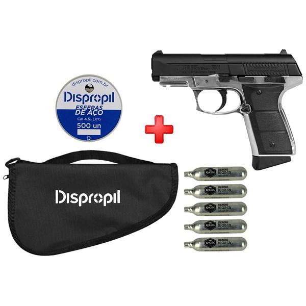 Pistola de Pressão CO2 Daisy 5501 Full Metal 4.5mm + Capa + Cápsula de CO2 + Esferas de Aço 500un.