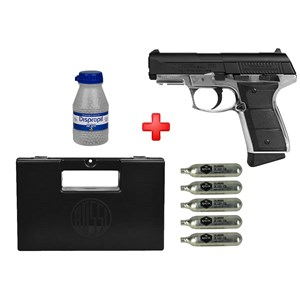 Pistola de Pressão CO2 Daisy 5501 Full Metal 4.5mm + Case + Cápsula de CO2 + Esferas de Aço 2100un.